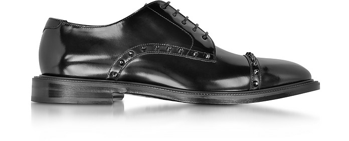 Penn Black Shiny Leather Lace Up Derby Shoe w/Gunmetal Studs - Jimmy Choo