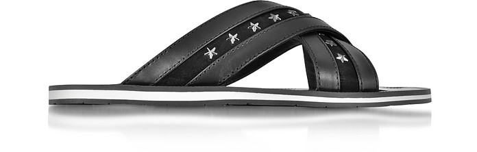 Wally Black Leather Sandal w/Gunmetal Stars - Jimmy Choo