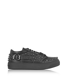 Roman Black Leather Low Top Sneaker w/Studs - Jimmy Choo