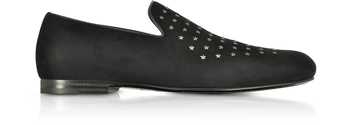 Sloane UMP Black Suede Loafers w/Gunmetal Mini Stars - Jimmy Choo