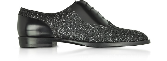 Tyler OGA Black Leather and Glitter Fabric Oxford Shoes - Jimmy Choo
