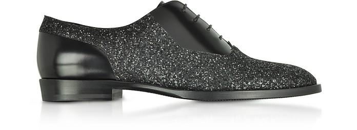 Tyler OGA - Chaussures Oxford en Cuir Noir et Toile Pailletée - Jimmy Choo