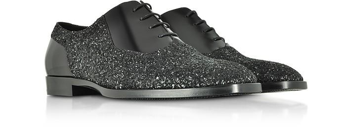 d96e96b66e Tyler OGA Black Leather and Glitter Fabric Oxford Shoes