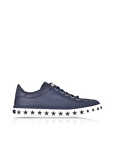 Ace Sport Official Navy Leather Low Top Sneakers w/Star Studded Sole - Jimmy Choo