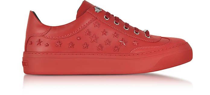 66964838290 Jimmy Choo Ace Sport Deep Red Leather Low Top Sneakers w Mixed Stars ...