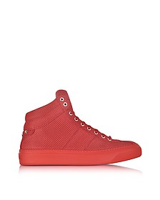 Belgravia Deep Red Point Embossed Nubuck High Top Sneakers w/Stars - Jimmy Choo