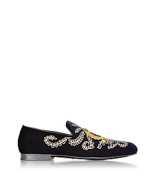 Dark Navy Blue Embroidered Velvet Slippers  - Jimmy Choo