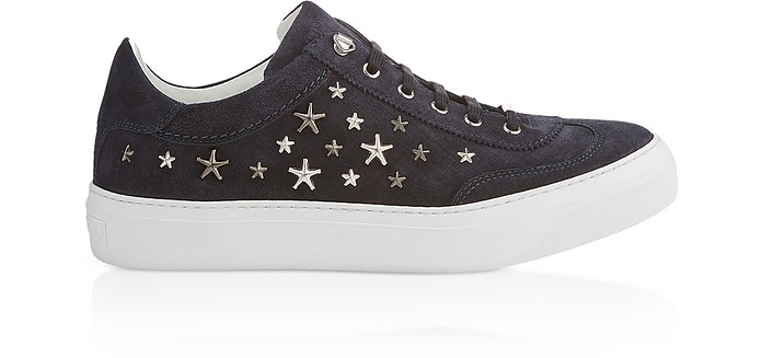 Navy Blue Denim Suede Ace Low Top Trainers - Jimmy Choo