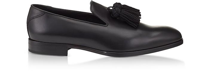Foxley Black Soft Nappa Leather Tasselled Slippers - Jimmy Choo