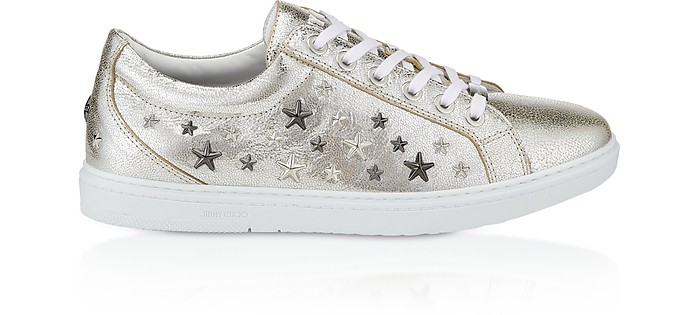 Cash GTA Champagne Glitter Leather Low Top Trianers w/Multi Metal Stars - Jimmy Choo