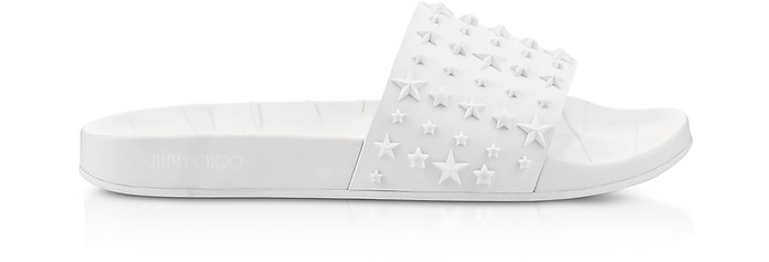 Rey/M White Rubber Slides - Jimmy Choo