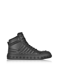 Cassius Black Leather High Top Sneakers w/Stars - Jimmy Choo