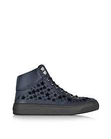 Argyle Official Navy Leather High Top Sneakers w/Black Flocked Stars - Jimmy Choo