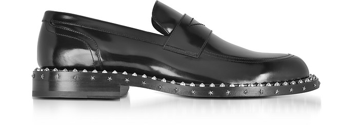 4a47f0d6a4ed Jimmy Choo Black Leather Stars and Studs Men s Loafer 45 (12 US