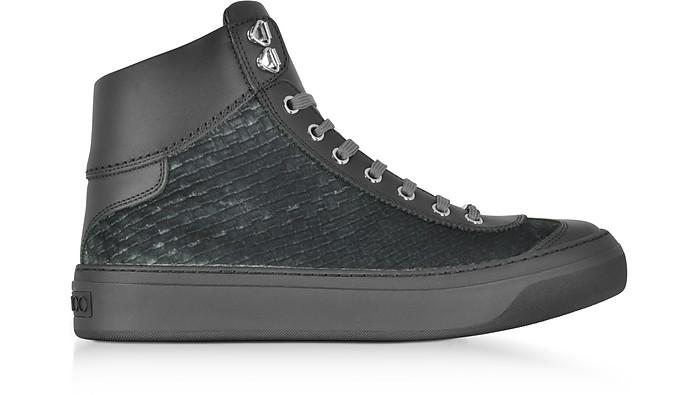 22c443fe3c78 Jimmy Choo Argyle Dust Grey Embossed Velvet High Top Sneakers 39 (6 ...