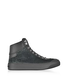 Argyle Dust Grey Embossed Velvet High Top Sneakers - Jimmy Choo