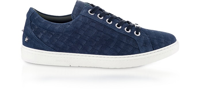 Cash Navy Croco Print Denim Leather Low Top Trainers - Jimmy Choo