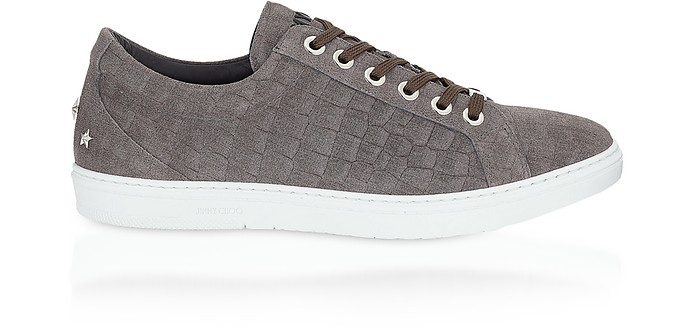 Cash Smoke Croco Print Denim Leather Low Top Trainers - Jimmy Choo