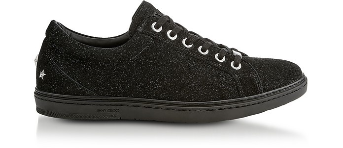 Cash Black Soft Glitter Suede Low Top Trainers - Jimmy Choo