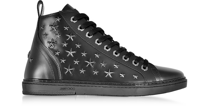 Colt Black Leather Sport High Top Sneakers w/Multi Stars - Jimmy Choo