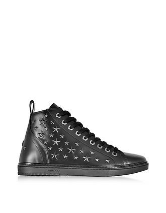 ffc3e7cf42e Colt Black Leather Sport High Top Sneakers w Multi Stars - Jimmy Choo