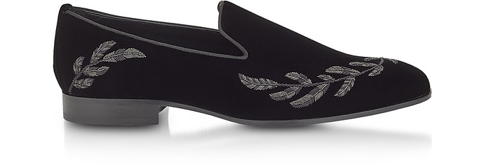 Saul Black Velvet Loafers w/Grey Feather Embroidery - Jimmy Choo