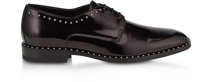 Stefan Black Shiny Leather Lace Up Oxford Shoes w/Grey Pearl Trim - Jimmy Choo