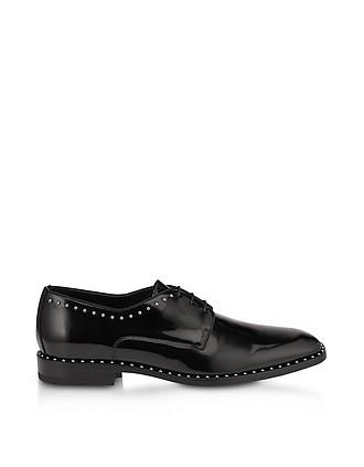 06134901ff7a Stefan Black Shiny Leather Lace Up Oxford Shoes w Grey Pearl Trim - Jimmy  Choo