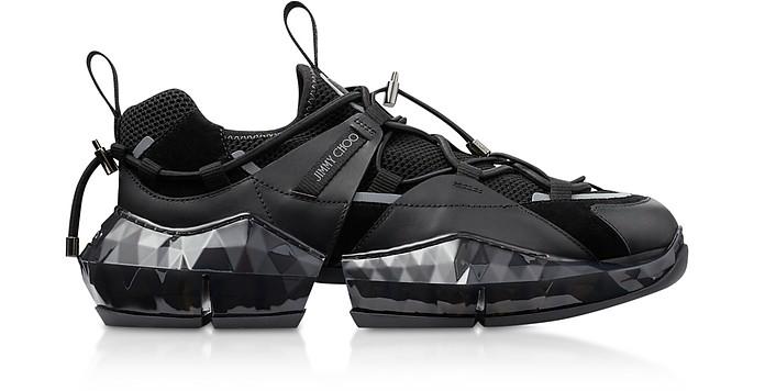 Black Diamond Trial Sneakers w/ Stretch Mesh - Jimmy Choo