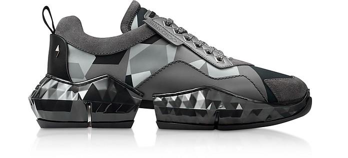 Anthracite Diamond Sneakers w/ Camo Print Nylon - Jimmy Choo