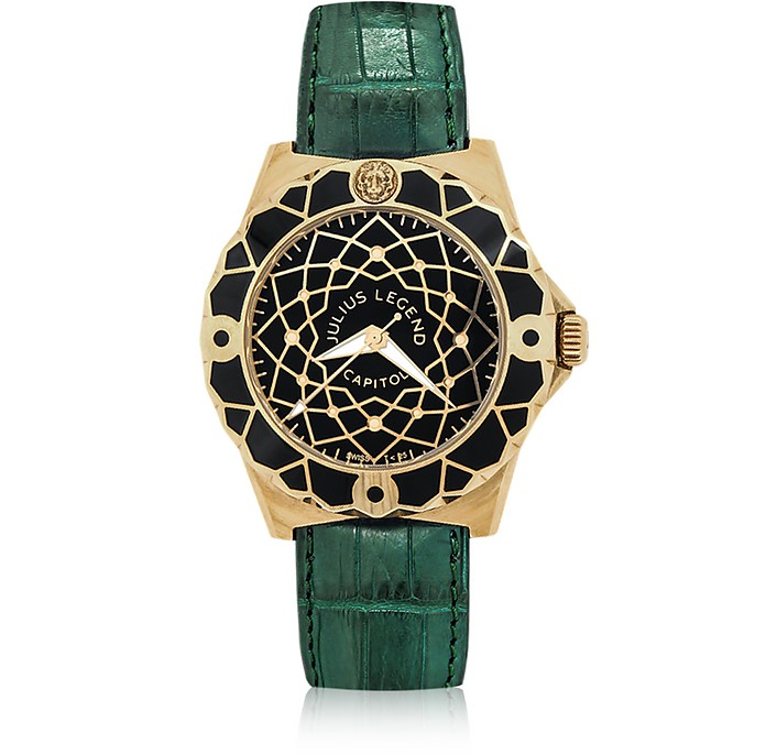 Capitol - 18K Gold & Green Crocodile Leather Watch - Julius Legend