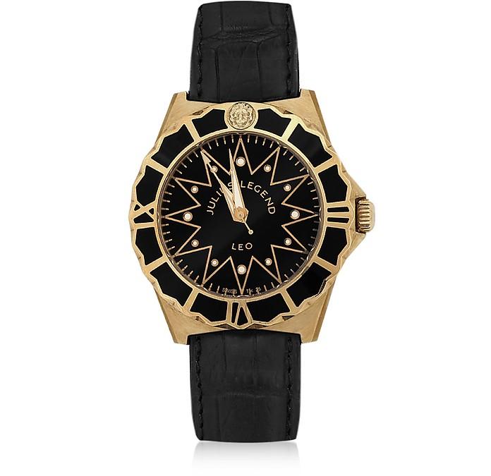 Leo - Uhr mit 18k Gold & Armband aus Krokodilleder - Julius Legend