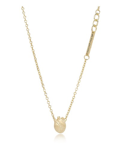 Small Gold Anatomic Heart Necklace - Bjorg
