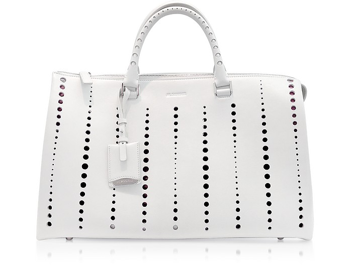 Large Jil Bag Open White Perforated Leather Satchel - Jil Sander