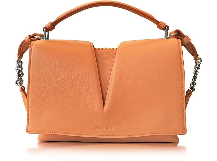 View Medium Open Orange Leather Shoulder Bag - Jil Sander