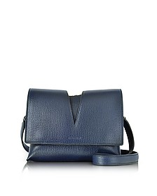 View Open Blue Cross Printed Leather Small Shoulder Bag - Jil Sander