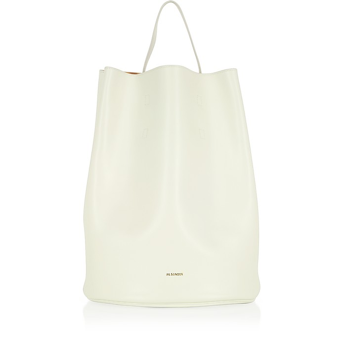 Open White Leather Bucket Bag - Jil Sander