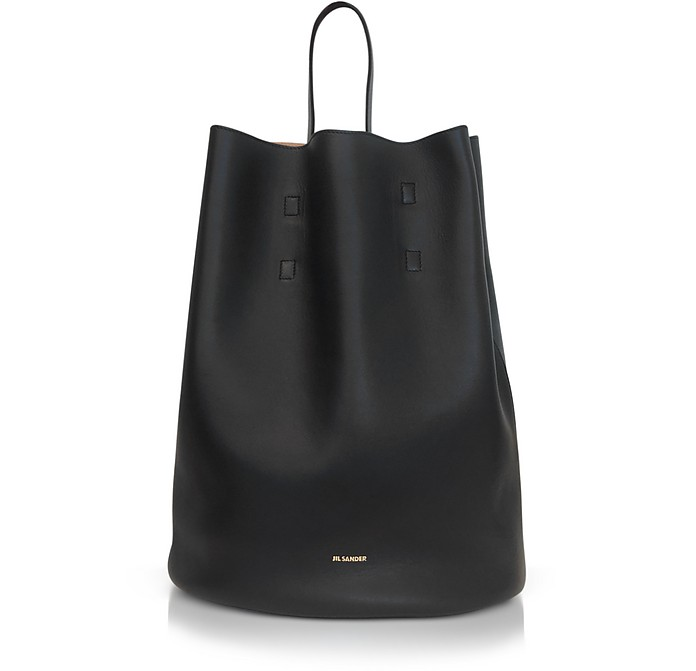 Open Miscellaneous Leather Bucket Bag - Jil Sander