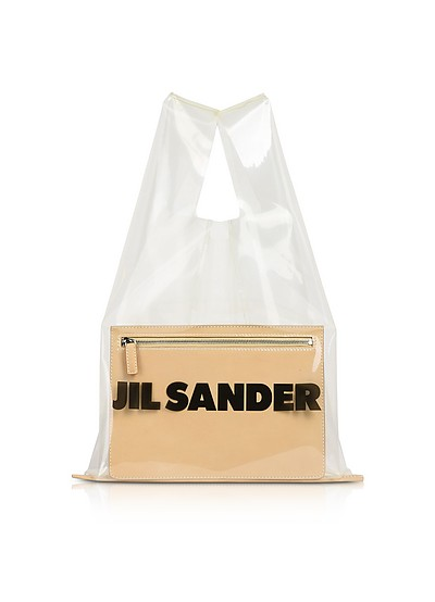 Medium Transparent Market Bag w/Pocket - Jil Sander
