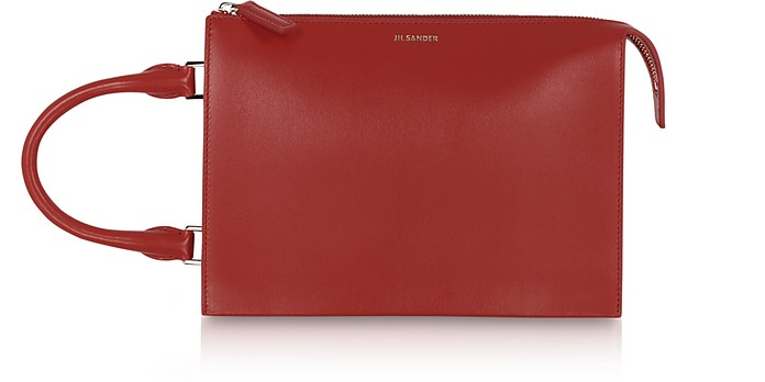 Tootie Small Dark Red Leather Clutch - Jil Sander