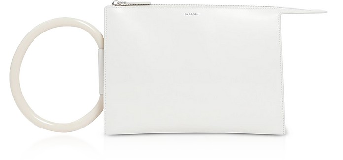 Tootie Small Tube Antique White Calf Leather Pouch - Jil Sander