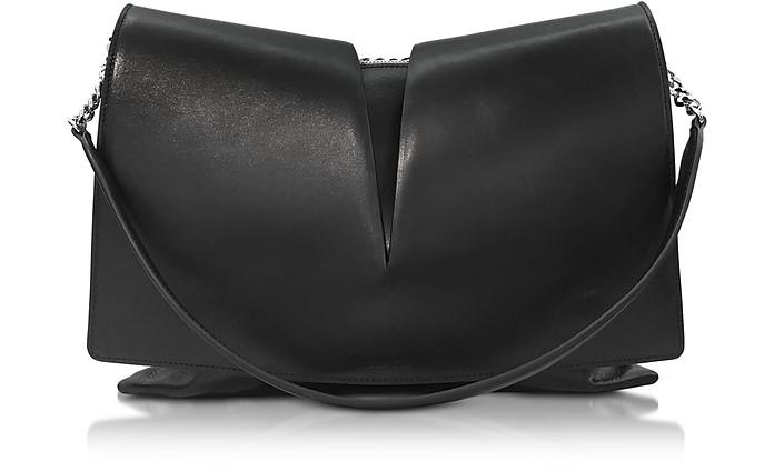 View Medium Black and Nude Leather Shoulder Bag - Jil Sander
