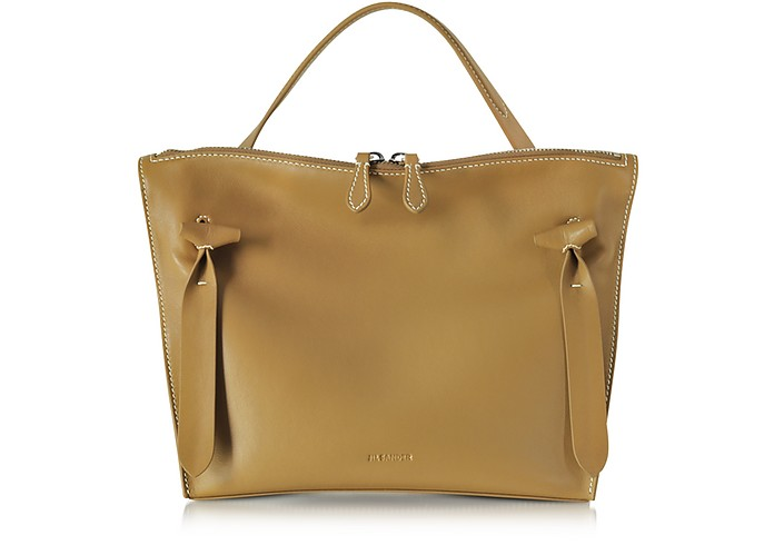 Dark Yellow Small Leather Hill Satchel Bag - Jil Sander