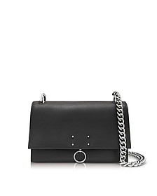 Black Leather Small Ring Shoulder Bag - Jil Sander