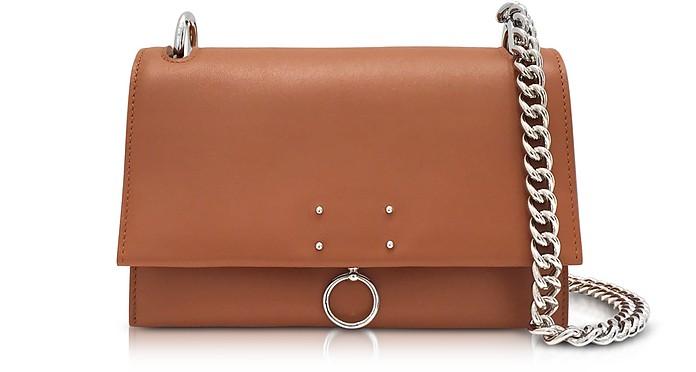 Open Brown Leather Small Ring Shoulder Bag - Jil Sander