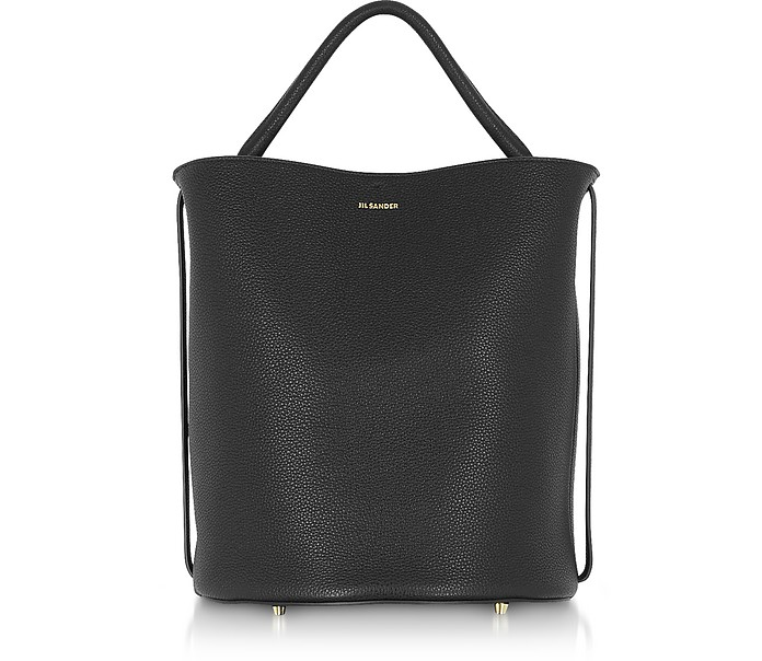 Black Large Leather Bucket Bag - Jil Sander