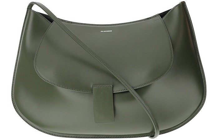 Military Green Leather Shoulder Bag - Jil Sander