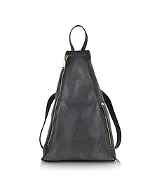 3Angle Black Leather Backpack
