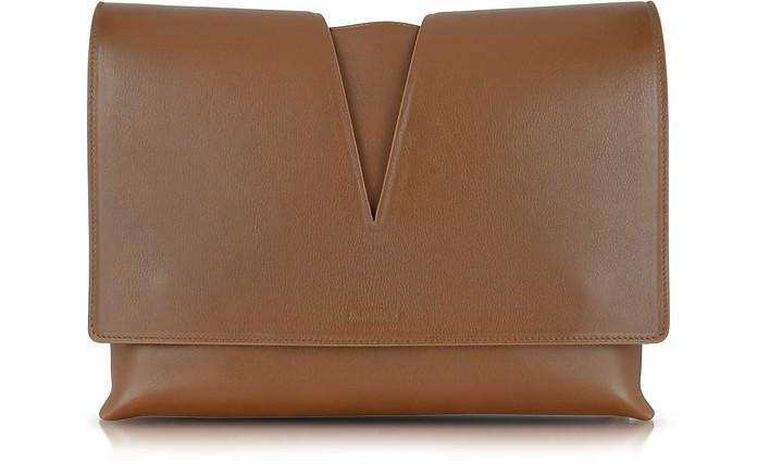 View Medium Brown Leather Shoulder Bag - Jil Sander