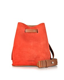 Brown Leather and Open Orange Suede Small Bucket Bag